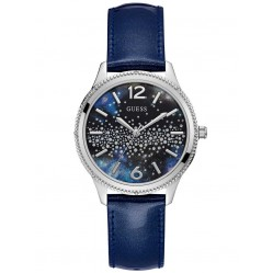 Guess Ladies Celeste Blue Leather Strap Watch W1028L1