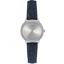 Guess Ladies Chelsea Stone Set Blue Leather Strap Watch W0648L20