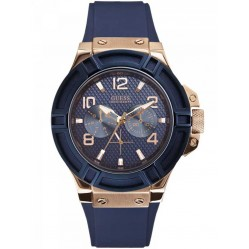 Guess Mens Rose Gold Plated Blue Rubber Strap Watch W0247G3