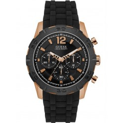 Guess Mens Caliber Chronograph Black Strap Watch W0864G2