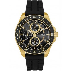 Guess Mens Jet Black Rubber Strap Watch W0798G3
