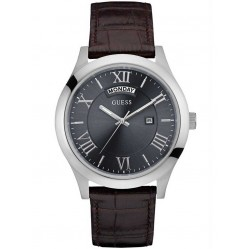 Guess Mens Metropolitan Brown Leather Strap Watch W0792G5