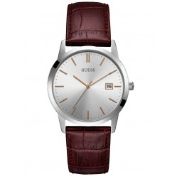 Guess Mens Camden Leather Strap Watch W0998G2