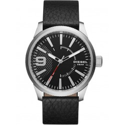 Diesel Mens Black Leather Strap Rasp Watch DZ1766