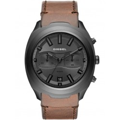 Diesel Tumbler Gunmetal Brown Strap Watch DZ4491