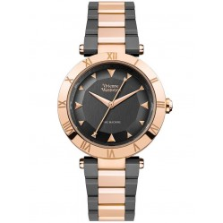 Vivienne Westwood Ladies Montagu Two Colour Rose Gold Plated Black Dial Bracelet Watch VV206RSGN