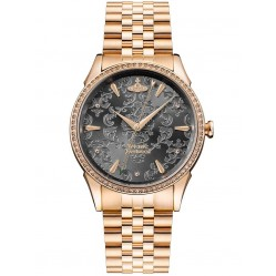 Vivienne Westwood Ladies Wallace Rose Gold Plated Black Jacquard Dial Bracelet Watch VV208RSRS
