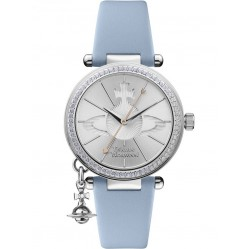 Vivienne Westwood Ladies Orb Pastelle Silver Dial Pale Blue Leather Strap Watch VV006BLBL