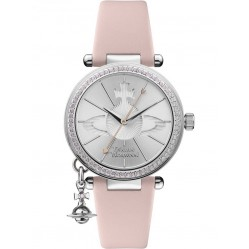 Vivienne Westwood Ladies Orb Pastelle Silver Dial Pale Pink Leather Strap Watch VV006SLPK