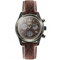 Vivienne Westwood Mens Sotheby Chronograph Dark Stainless Steel Brown Strap Watch VV142BRBR