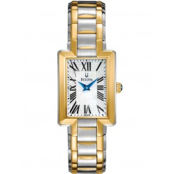 Bulova Ladies Two Tone Gold Plated White Mother of Pearl Watch 98L157