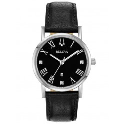 Bulova Ladies American Clipper Black Diamond Dial Leather Strap Watch 96P192