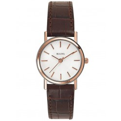 Bulova Ladies Two Colour Rose Gold Plated White Dial Brown Leather Strap Watch 98V31