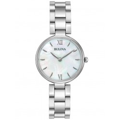 Bulova Ladies Classic Stainless Steel Mother Of Pearl Dial Bracelet Watch 96L229
