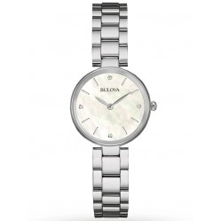 Bulova Ladies Classic Stainless Steel Mother Of Pearl Diamond Set Dial Bracelet Watch 96S159