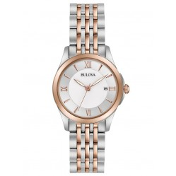 Bulova Ladies Classic Stainless Steel Mother Of Pearl Date Dial Rose Gold Plated Two Tone Bracelet Watch 98M125