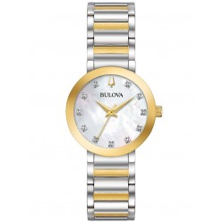 Bulova Ladies Modern Futuro Diamond Set Dial Gold Plated Two Tone Bracelet Watch 98P180