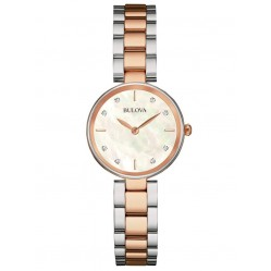 Bulova Ladies Classic Diamond Set Dial Rose Gold Plated Two Tone Bracelet Watch 98S147