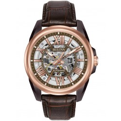 Bulova Rose Gold Plated Leather Strap Watch 98A165