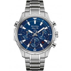 Bulova Mens Marine Star Stainless Steel Blue Chronograph Dial Bracelet Watch 96B256