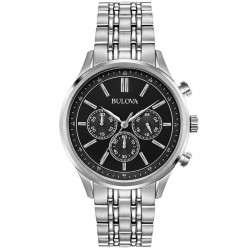 Bulova Mens Black Chronograph Dial Stainless Steel Bracelet Watch 96A211