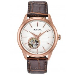 Bulova Mens Automatic Rose Gold Plated Cream Skeleton Dial Brown Leather Strap  Watch 97A133