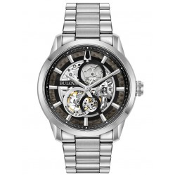Bulova Mens Sutton Classic Automatic Black Skeleton Dial Bracelet Watch 96A208
