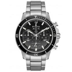 Bulova Mens Marine Star Stainless Steel Black Chronograph Dial Bracelet Watch 96B272