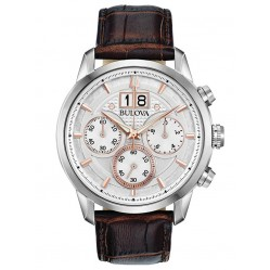 Bulova Mens Sutton Classic Chronograph Dial Brown Leather Strap Watch 96B309