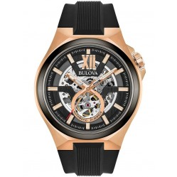 Bulova Mens Maquina Classic Automatic Skeleton Dial Black Rubber Strap Watch 98A177