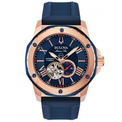 Bulova Mens Marine Star Rose Gold Plated Automatic Blue Dial Rubber Strap Watch 98A227