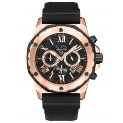 Bulova Mens Marine Star Rose Gold Plated Black Chrongraph Dial Rubber Strap Watch 98B104