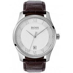 BOSS Mens Master Brown Leather Strap Watch 1513586