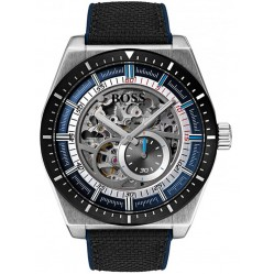 Hugo Boss Mens Signature Skeleton Black Strap Watch 1513643