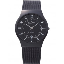 Skagen Black Titanium Mesh Black Dial Watch 233XLTMB
