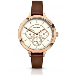 Sekonda Ladies Brown Strap Watch 2366