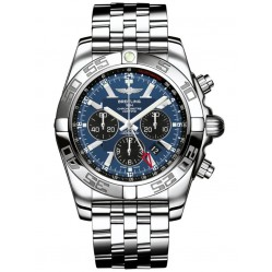Pre-Owned Breitling Chronomat GMT Blue and Black Bracelet Watch AB041012-C835-383A