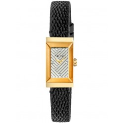 Gucci Ladies Rectangular Gold Plated Black Leather Strap Watch YA147507