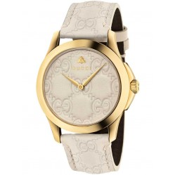 Gucci Ladies Gold Plated Cream Leather Strap Watch YA1264033