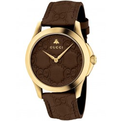 Gucci Ladies Gold Plated Brown Leather Strap Watch YA1264035