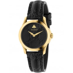 Gucci Ladies Gold Plated Black Leather Strap Watch YA126581