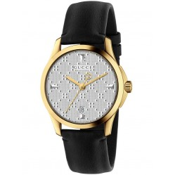 Gucci Ladies Gold Plated Black Leather Strap Watch YA1264027