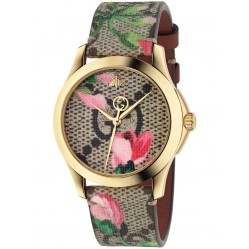 Gucci Ladies Gold Plated Floral Blooms Leather Strap Watch YA1264038