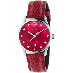 Gucci Ladies Cherry Red Medium Leather Strap Watch YA1264041