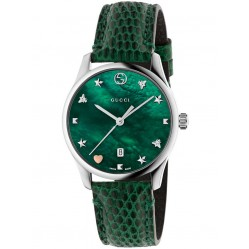 Gucci Ladies Green Signature Small Leather Strap Watch YA126585