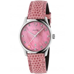 Gucci Ladies Pink Signature Small Leather Strap Watch YA126586