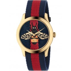 Gucci Unisex G-Timeless Embroidered Bee Multicolor Fabric Strap Watch YA1264061