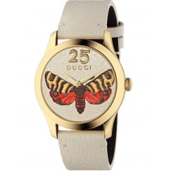 Gucci Ladies G-Timeless Gold Plated Moth Dial White Leather Watch YA1264062