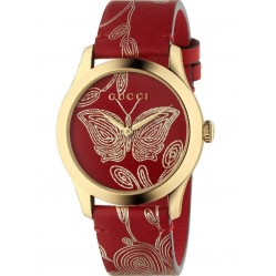 Gucci Ladies G-Timeless Gold Plated Red Leather Strap Watch YA1264054