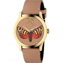 Gucci Ladies G-Timeless Embroidered Butterfly Motif Brown Leather Strap Watch YA1264063